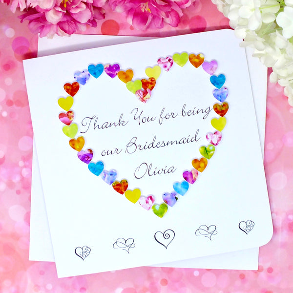 Thank You Bridesmaid Card - Hearts, Personalised Front