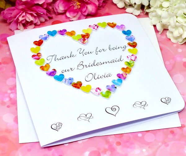 Thank You Bridesmaid Card - Hearts, Personalised Alternate