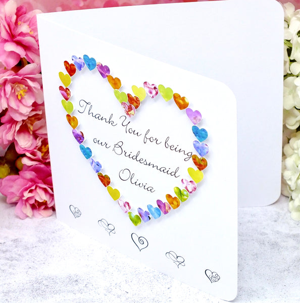Thank You Bridesmaid Card - Hearts, Personalised Side