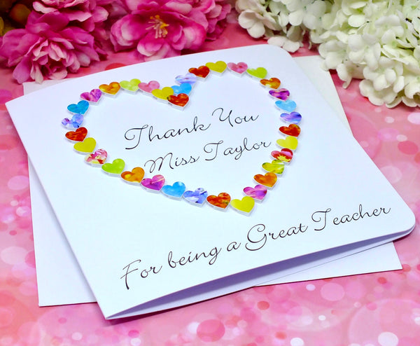 Thank You Teacher Card - Hearts, Personalised