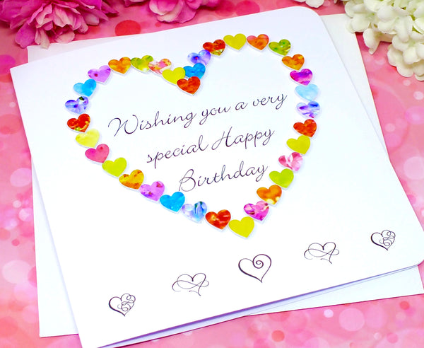 Birthday Card - 'Wishing you a very special Happy Birthday' - Hearts