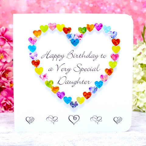 Birthday Card for a Very Special Daughter - Hearts Main