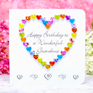 Wonderful Grandma Birthday Card - Hearts Main