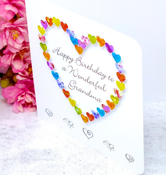 Wonderful Grandma Birthday Card - Hearts Side