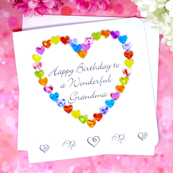 Wonderful Grandma Birthday Card - Hearts Front