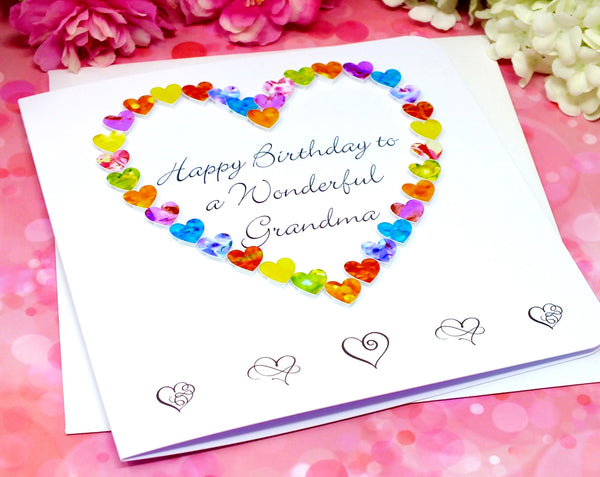Wonderful Grandma Birthday Card - Hearts Alternate