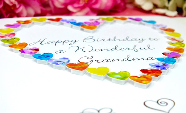 Wonderful Grandma Birthday Card - Hearts Close Up