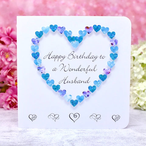 Wonderful Husband Birthday Card - Hearts