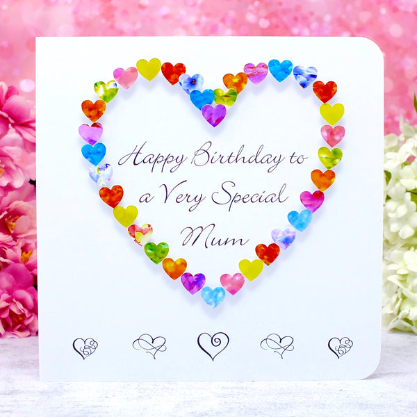 Birthday Card for a Very Special Mum - Hearts