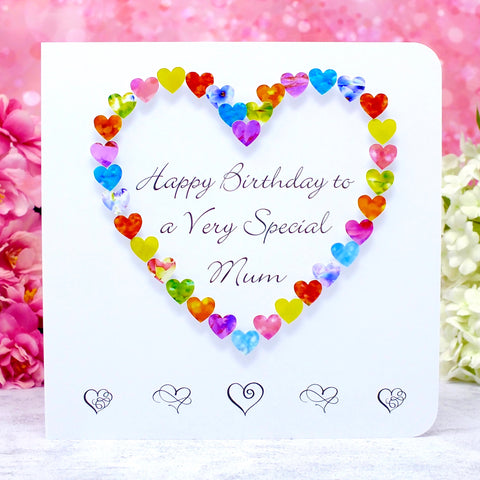 Birthday Card for a Very Special Mum - Hearts Main