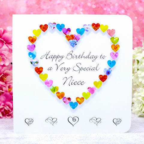 Birthday Card for Niece - Multi Coloured Hearts