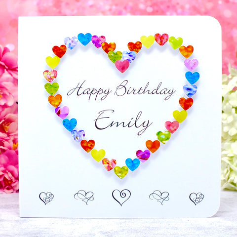 Personalised Birthday Card - Hearts