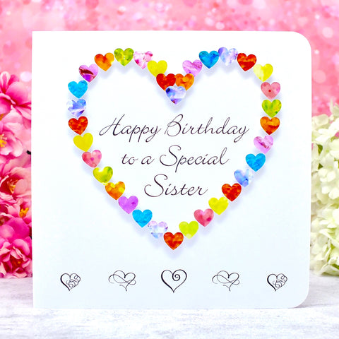 Sister Birthday Card - Multi Coloured Hearts