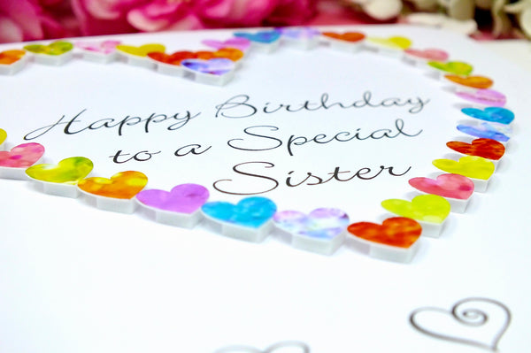 Birthday Card for Sister - Hearts