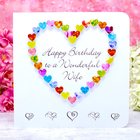 Birthday Card for Wife - Multi-Coloured Hearts