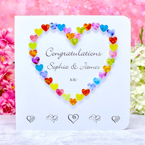 Congratulations Card - Hearts, Personalised Main