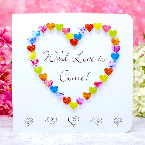 Wedding Acceptance Card, RSVP We'd Love to Come - Hearts Main