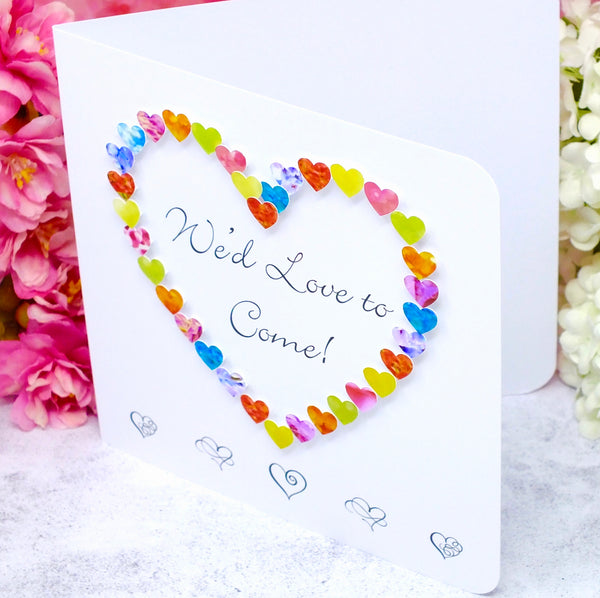 Wedding Acceptance Card, RSVP We'd Love to Come - Hearts