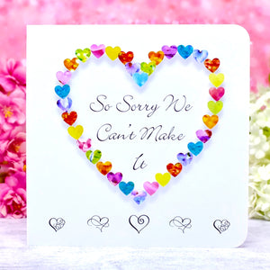 So Sorry We Can't Make It - Wedding Decline RSVP Card - Hearts