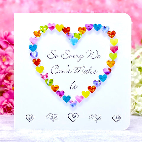 So Sorry We Can't Make It - Wedding Decline RSVP Card - Hearts Main