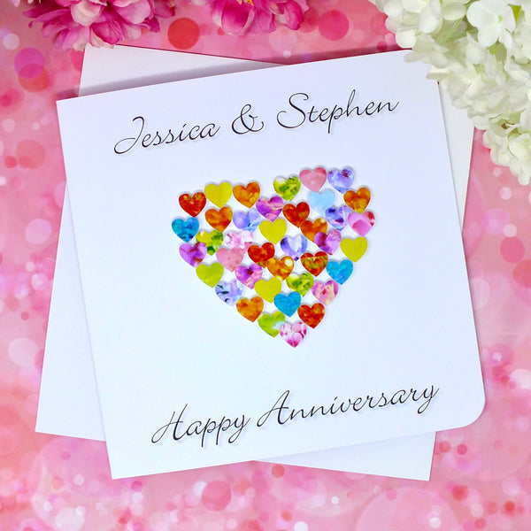 Happy Wedding Anniversary Card - Hearts, Personalised