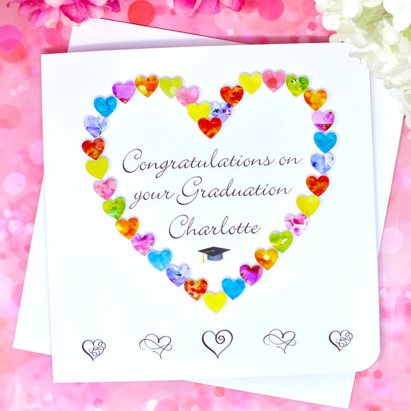 Graduation Card - Hearts, Personalised