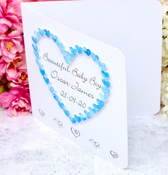 New Baby Boy Card - Hearts, Personalised
