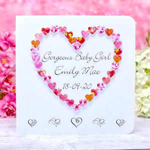 New Baby Girl Card - Hearts, Personalised
