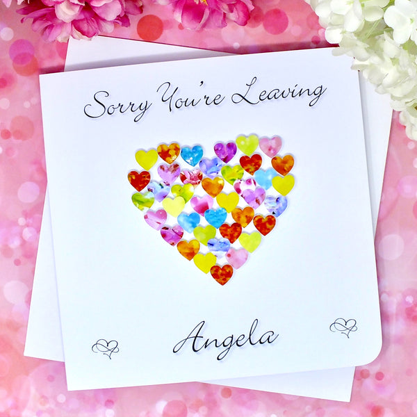 Sorry You're Leaving Card - Hearts, Personalised