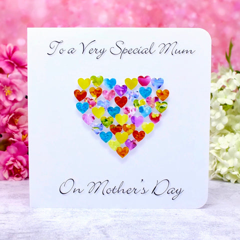 Special Mum on Mother's Day Card - Hearts Main