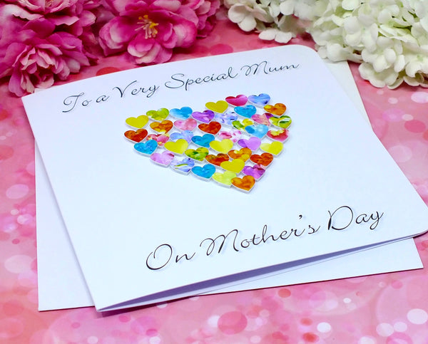 Special Mum on Mother's Day Card - Hearts