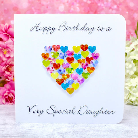 Birthday Card for Daughter - Multi Coloured Hearts Main