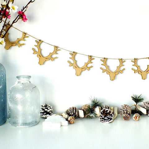 Wooden Stag Bunting - Hanging Christmas Garland Decoration