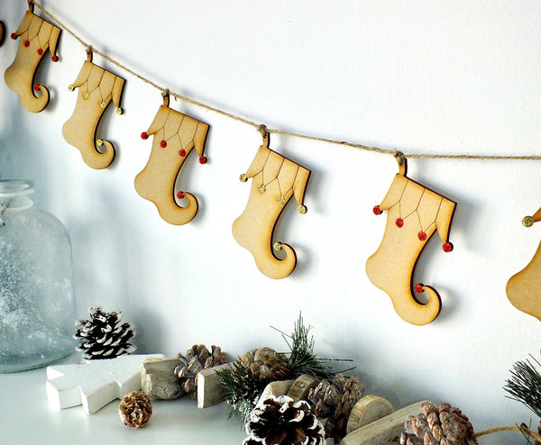 Wooden Elf Stocking Bunting - Hanging Christmas Garland Decoration