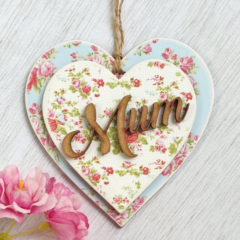 Mum - Wooden Hanging Heart Ornament, Floral Home Decor Gift Main