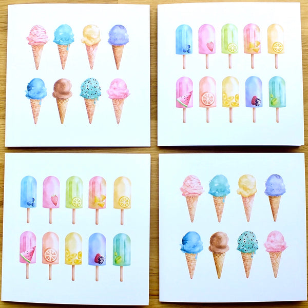 Pack of 4 Blank 'Summer' Greeting Cards