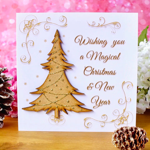 "Luxury 'Wishing You a Magical Christmas' Card - ""Trimmed Tree"" - Rustic Sparkle"