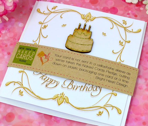 25th Birthday Card - Wooden Birthday Cake + Band