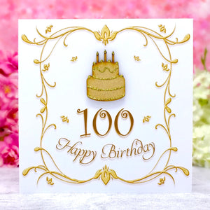 100th Birthday Card with Wooden Birthday Cake
