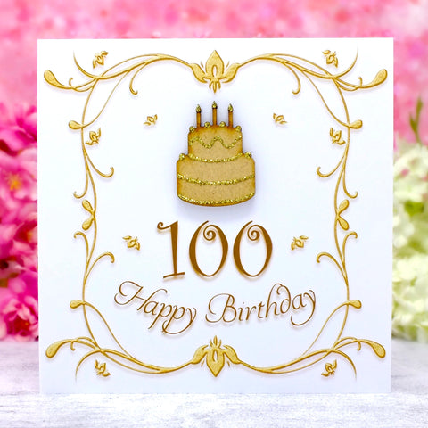 100th Birthday Card - Wooden Birthday Cake