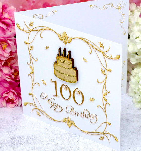 100th Birthday Card with inner detailing
