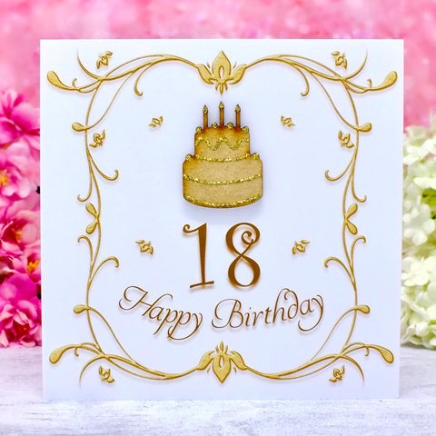 18th Birthday Card - Wooden Birthday Cake