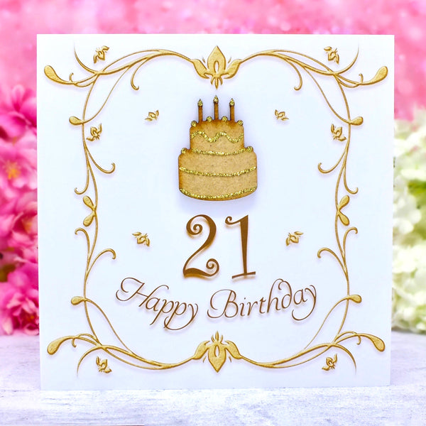 Luxury 21st Birthday Card - Wooden Birthday Cake