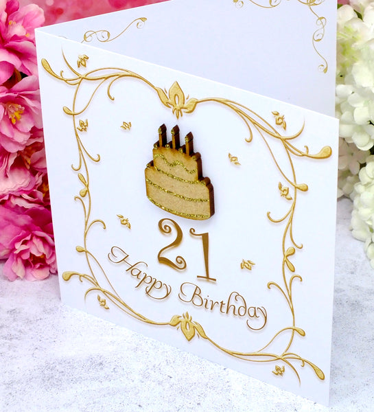 21st Birthday Card - Wooden Birthday Cake Side View