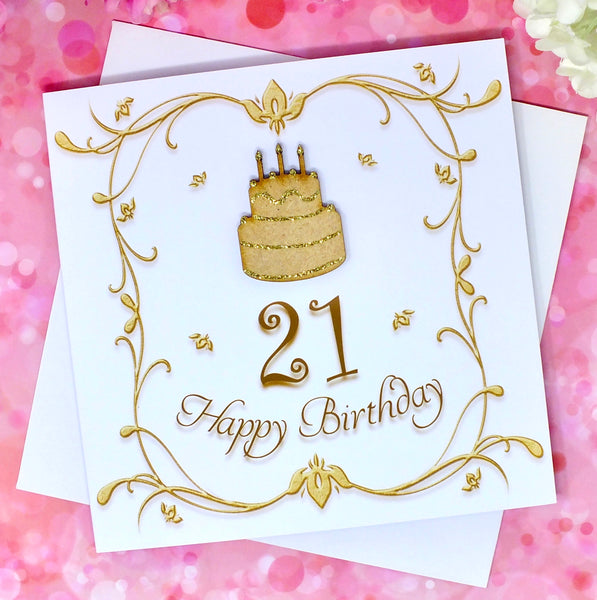 21st Birthday Card - Wooden Birthday Cake Front
