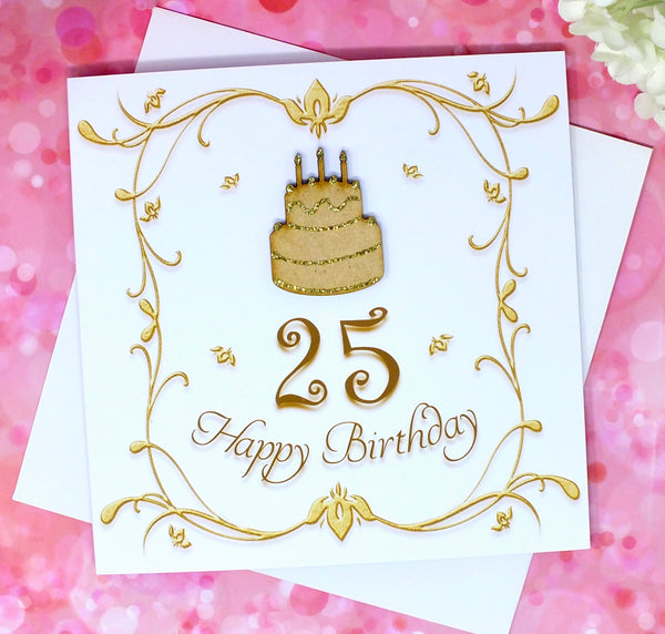 25th Birthday Card - Wooden Birthday Cake Front