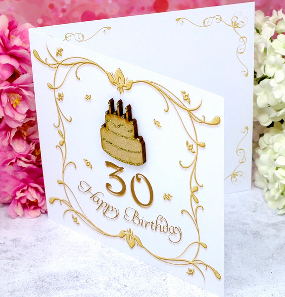 30th Birthday Card - Wooden Birthday Cake Side View