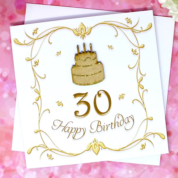30th Birthday Card - Wooden Birthday Cake Front