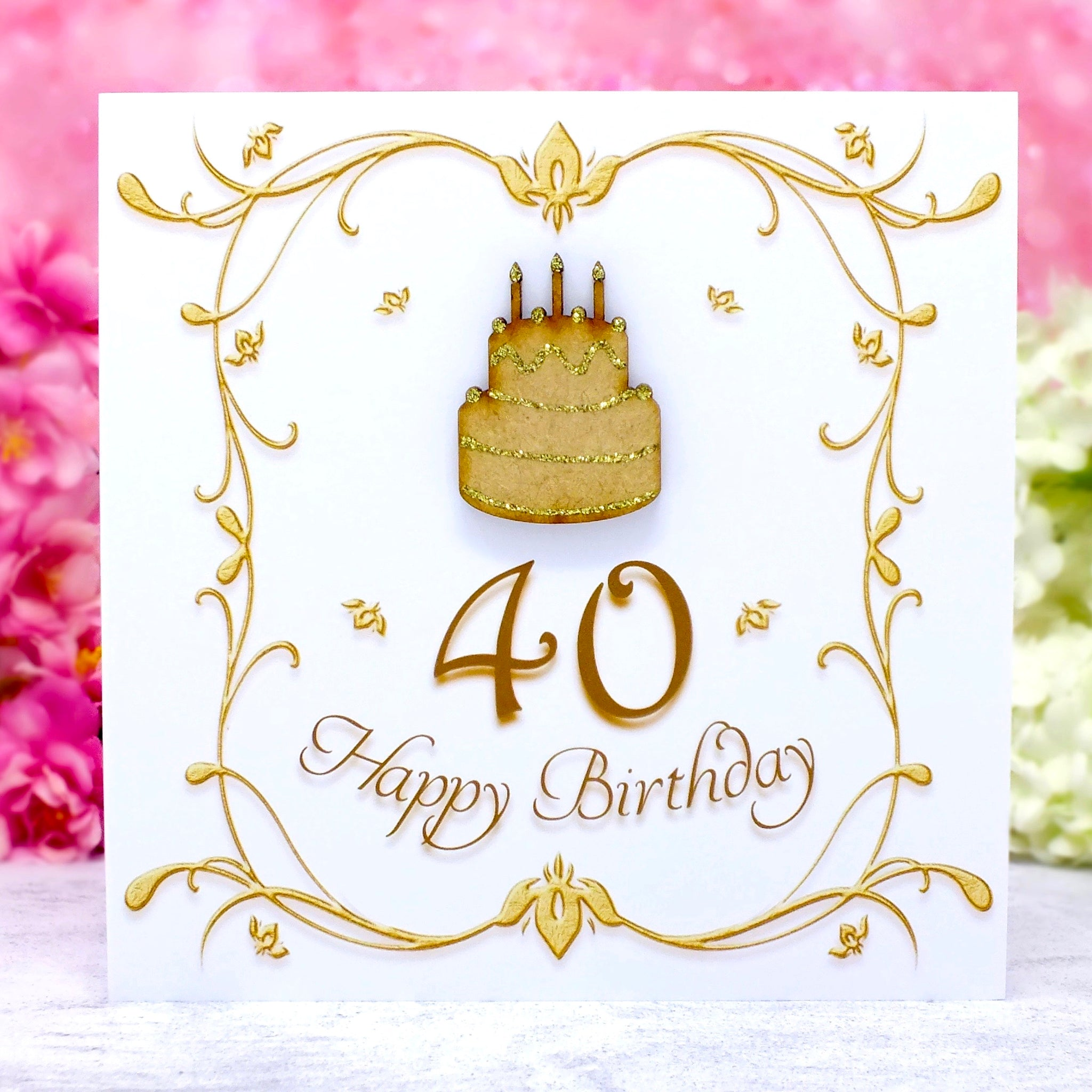 40th Birthday Card - Wooden Birthday Cake Main