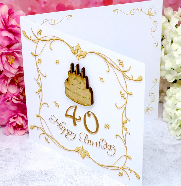 40th Birthday Card - Wooden Birthday Cake Side